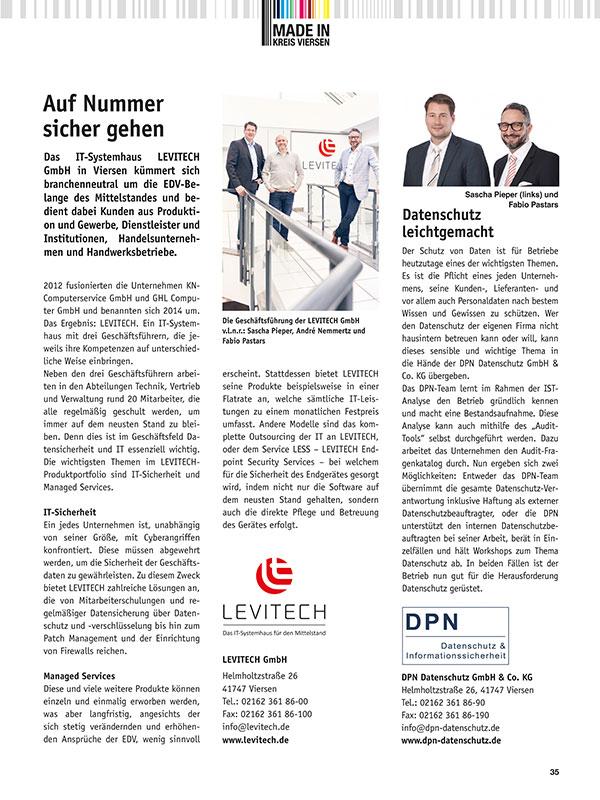 """""""Auf Nummer sicher gehen"""", Made in Kreis Viersen, 1. Ausgabe 2018"""