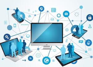 Levitech | IT Flatrate | Mittig ein Computerbildschirm mit vielen vernetzungen zu Endgeräten und Personen